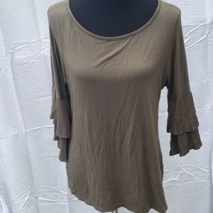 Ultra Flirt flowy ruffle sleeve blouse green xl